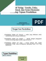 Kajian Perspektif Religi, Yuridis, Etika, Sosio-kultural, Sosio-ekonomi dalam Pendidikan