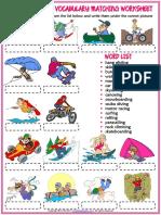 Extreme Sports Vocabulary Esl Matching Exercise Worksheet for Kids