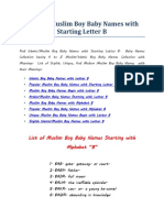 Islamic-Muslim Boy Baby Names With Starting Letter B
