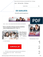 Kunci Jawaban All Quiz Oracle Academy Java Fundamental 2017 Part 11 - DS Sanjaya