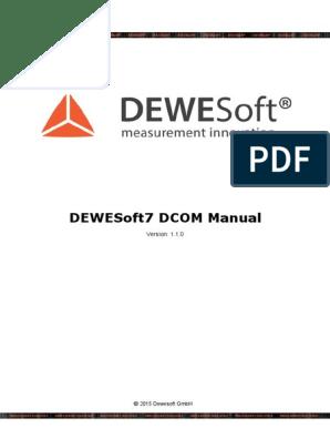 DEWESoft DCOM Manual | Software | Computing