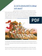 Bhagavad Gita Bhavarth-what Does the Book Says