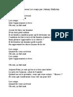 Paroles de La Chanson Les Coups Par Johnny Hallyday