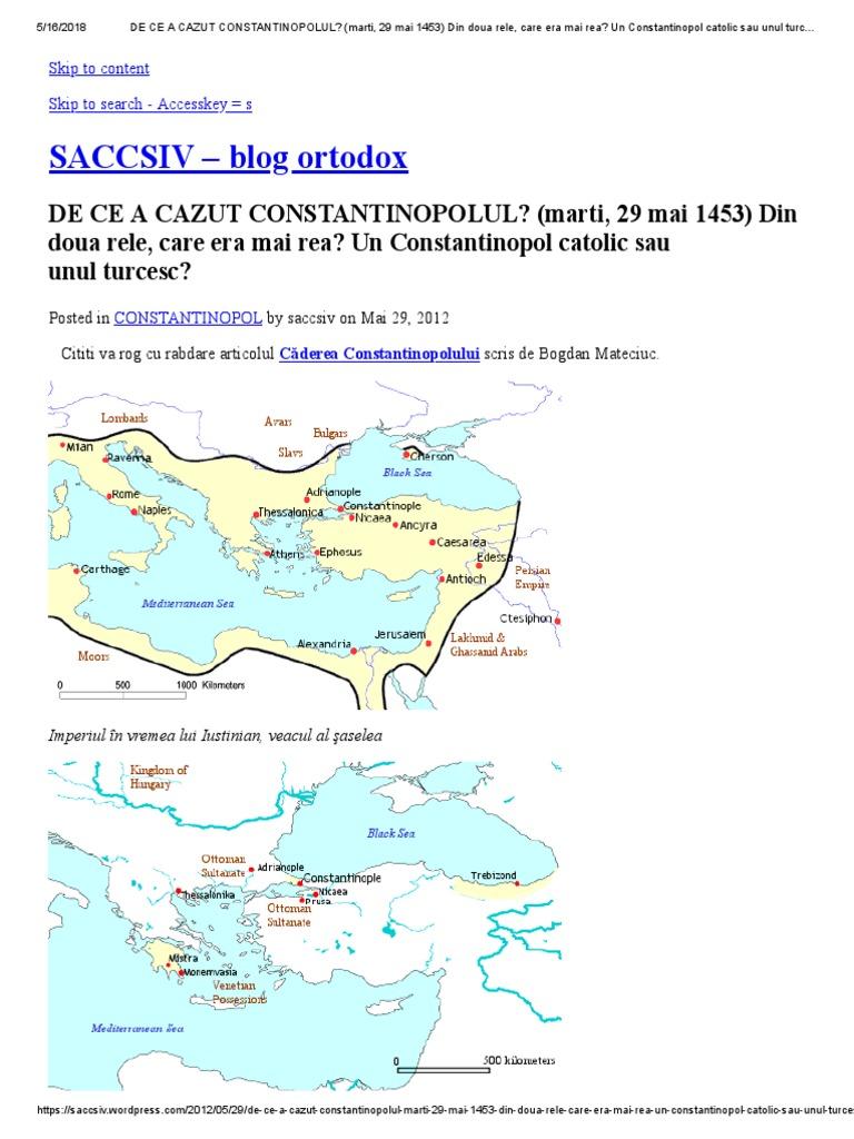 DE CE A CAZUT CONSTANTINOPOLUL_ (marti, 29 mai 1453) Din doua rele