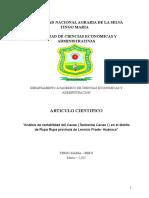 """""""Análisis de rentabilidad del Cacao (Teobroma Cacao l.) en el distrito de Rupa Rupa provincia de Leoncio Prado- Huánuco"""