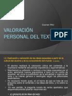 Valoracion Personal Del Texto