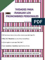 Coleccion de Actividades Para Trabajar Los Pronombres Personales