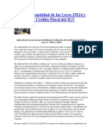 Inconstitucionalidad de Las Leyes 29214 y 29215 Sobre Crédito Fiscal Del IGV