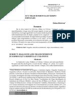 Hocevar, D - Sujeto, Diálogo y Trascendencia en Edipo en Colono de Sófocles