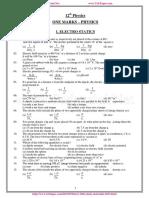 12th Physics One Mark Questions Em