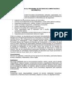 Perfil de Ingreso Al Programa de Estudios de Computación e Informática