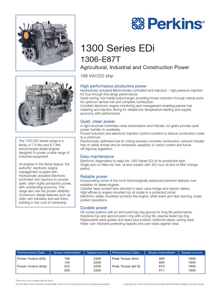1306-E87T Engine (PN1480 75th) | Fuel Injection | Diesel Engine