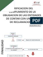 verificación del cumplimiento de la obligación de las entidades de contar con un libro de reclamaciones