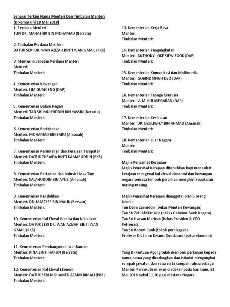 Senarai Terkini Nama Menteri Dan Timbalan Menteri