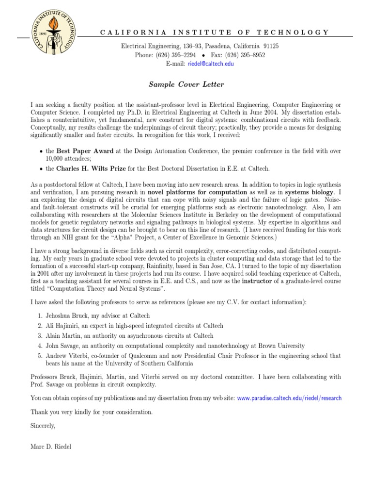 Electrical Engineering Cover Letter.pdf | California ...