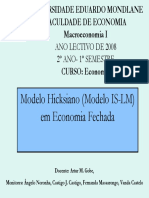 5. Macroeconomia II Modelo Hicksiano (Modelo is-LM) Em Economia Fechada