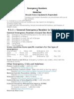 Emergency Numbers & Websites