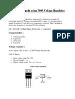 5V Power Supply Using 7805 Voltage Regulator