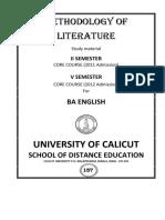 II, V Sem BA English - Core Course - Methodology of Literature