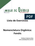 Aulas de Química - Anderson Dino - Fenóis - Nomenclatura e exercícios com gabarito
