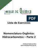 Aulas de Química - Anderson Dino - Hidrocarbonetos parte 2 - Nomenclatura e exercícios com gabarito