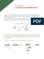 La Nitracion y Dinitracion Del Benceno