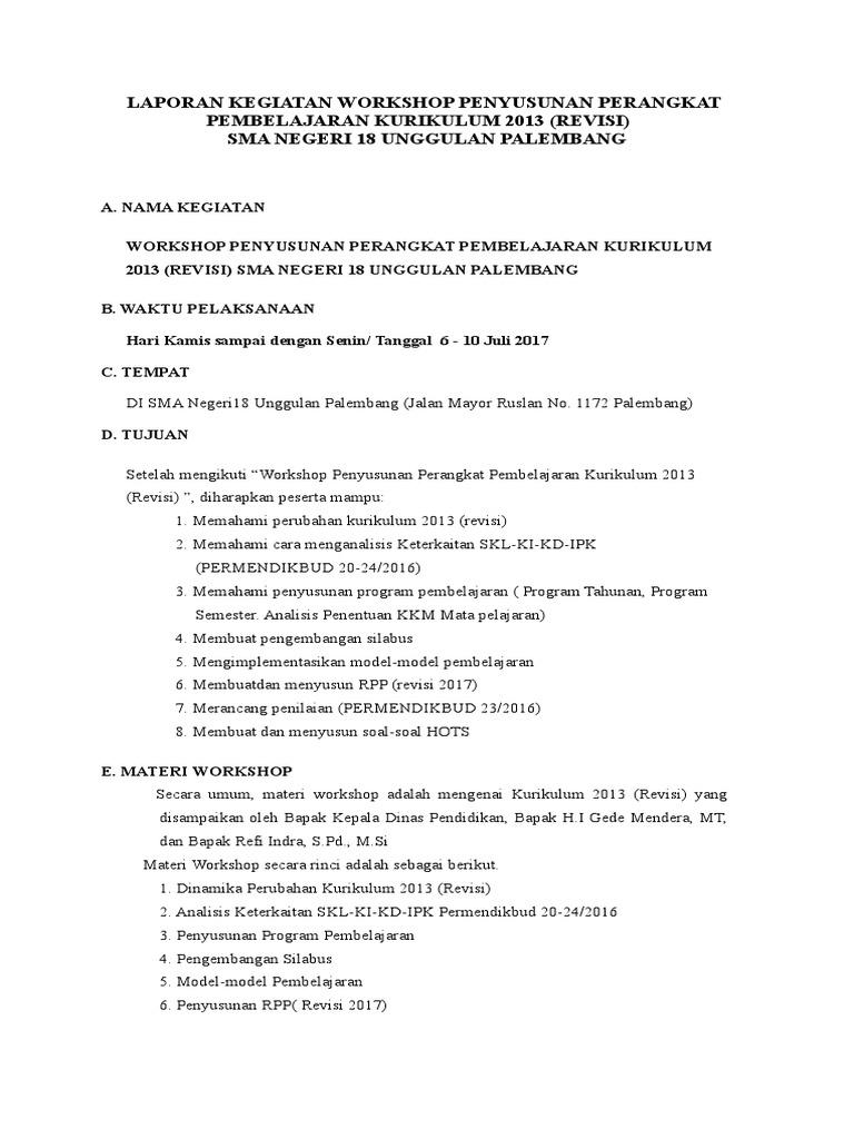 Contoh Laporan Hasil Workshop Kurikulum 2013