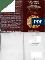 LLOBERA, José. La Antropologia Como Ciencia. Pág 15-23