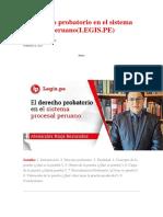 El Derecho Probatorio en El Sistema Procesal Peruano