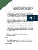 Monitoreo de Análisis de Los Contaminantes en El Suelo