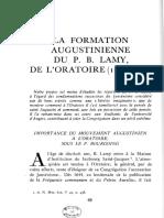 La Formation Augustinienne Du P B- Lamy de l Oratoire Par Francois GIRBAL