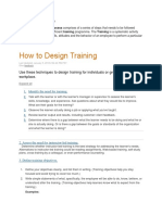 Training Design Preparation