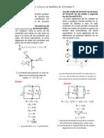 Teoremas y Leyes en Analisis de Circuitos.
