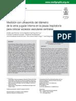 Medición Con Ultrasonido Del Diámetro de La Vena Yugular Para Accesos Centrales