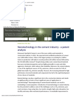 Nanotechnology in the Cement Industry - A Patent Analysis