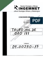Concesion Minera - TAURO SOL DE ORO III