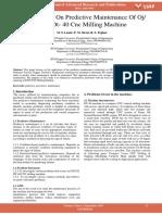 A Case Study on Predictive Maintenance of Oj 5522 Dt 40 Cnc Milling Machine