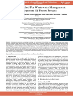 Chemical Method for Wastewater Management Developments of Fenton Process