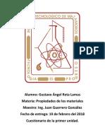 Cuestionario de Propiedades de Los Materiales.