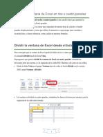 Dividir La Ventana de Excel en Dos o Cuatro Paneles