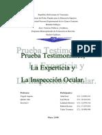 Prueba Testimonial, Experticia y La Inspeccion Ocular (Trabajo)