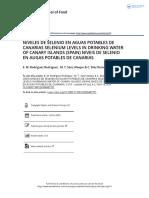 Niveles de Selenio en Aguas Potables de Canarias Selenium Levels in Drinking Water of Canary Islands Spain Niveis de Selenio en Augas Potables De