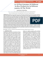 Critical Review of Past Literature of Different Factors Role in Rice Productivity in Different Countries of the World