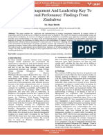 Strategic Management and Leadership Key to Organisational Perfomance Findings From Zimbabwe