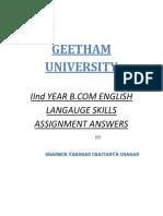 Geetam Univerist 2nd Year English Langauge Skills Assignment Answers-By Shanmuk Vardhan