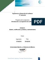 U3 Disenio Codificacion Pruebas y Mantenimiento