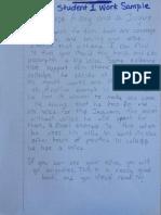 student work reflection feedback