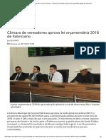 Câmara Municipal de Coronel Fabriciano - Câmara de Vereadores Aprova Lei Orçamentária 2018 de Fabriciano