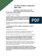 Claves de Una Eficaz Política Ambiental en La ISO 14001
