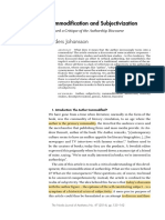 Commodification and Subjectivization. Toward a Critique of the Authorship Discourse
